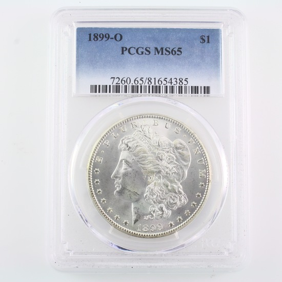 Certified 1899-O U.S. Morgan silver dollar
