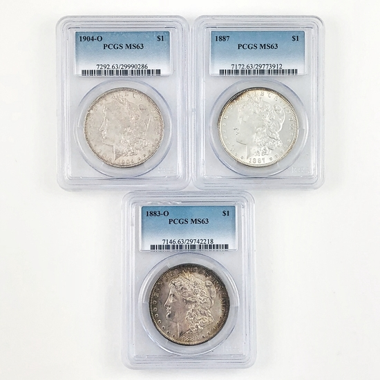 Lot of 3 different certified U.S. Morgan silver dollars