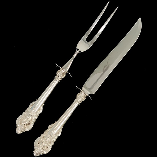 Estate Wallace Grande Baroque sterling silver carving set