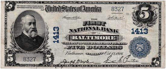 1902 U.S. large size $5 First National Bank of Baltimore national currency banknote