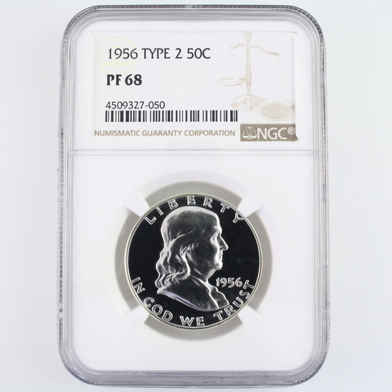 Certified 1956 U.S. proof Franklin half dollar