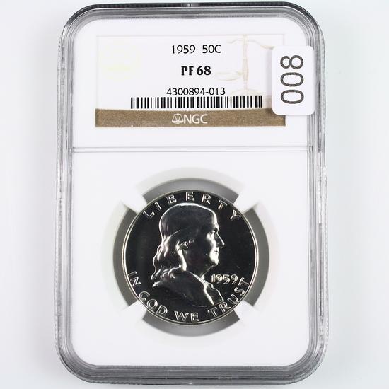 Certified 1959 U.S. proof Franklin half dollar
