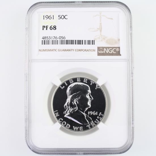 Certified 1961 U.S. proof Franklin half dollar