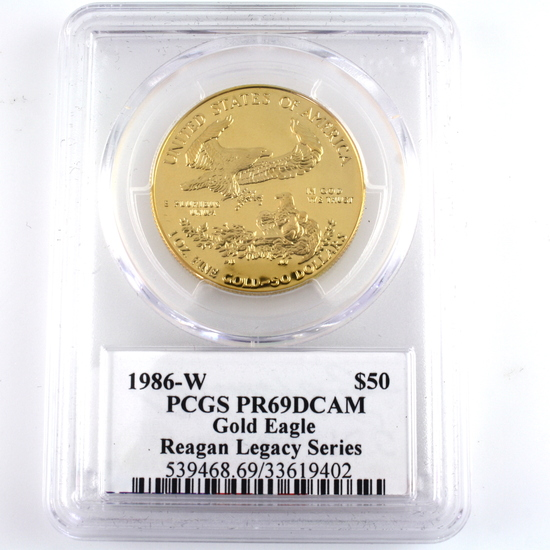 Certified 1986-W U.S. autographed proof 1oz $50 American Eagle gold coin