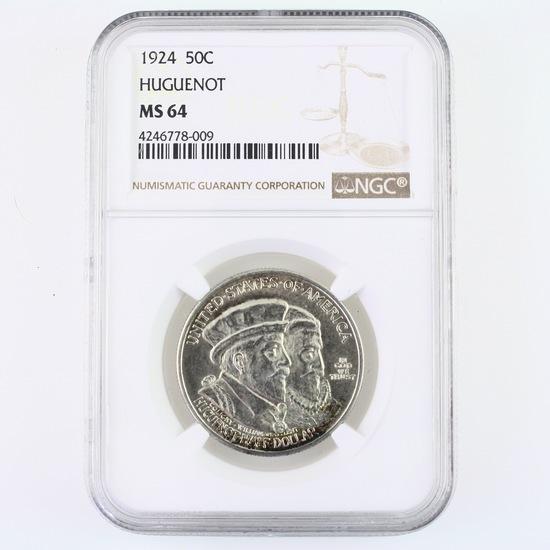 Certified 1924 U.S. Huguenot commemorative half dollar