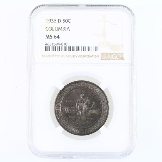 Certified 1936-D U.S. Columbia commemorative half dollar
