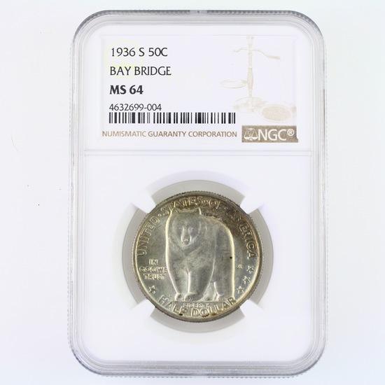 Certified 1936-S U.S. Bay Bridge commemorative half dollar