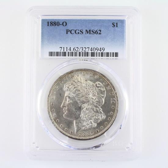 Certified 1880-O U.S. Morgan silver dollar