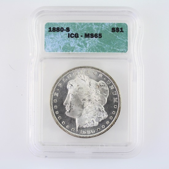 Certified 1880-S U.S. Morgan silver dollar