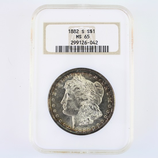 Certified 1882-S U.S. Morgan silver dollar