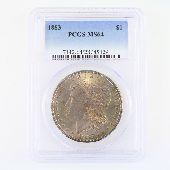 Certified 1883 U.S. Morgan silver dollar