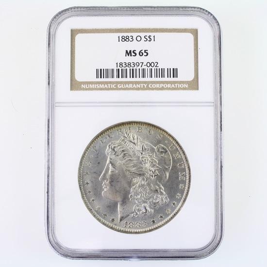 Certified 1883-O U.S. Morgan silver dollar