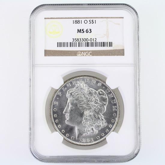 Certified 1881-O U.S. Morgan silver dollar
