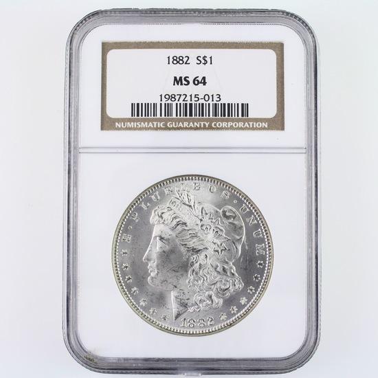 Certified 1882 U.S. Morgan silver dollar