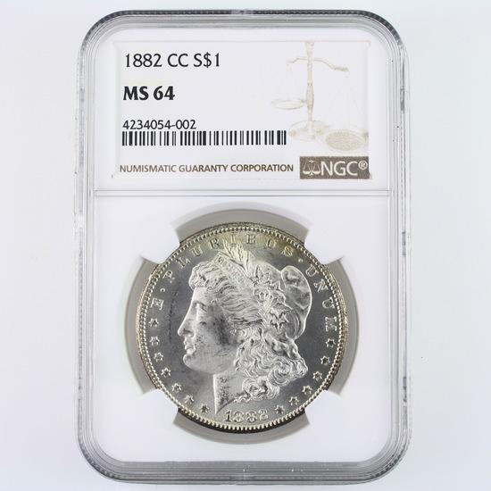 Certified 1882-CC U.S. Morgan silver dollar