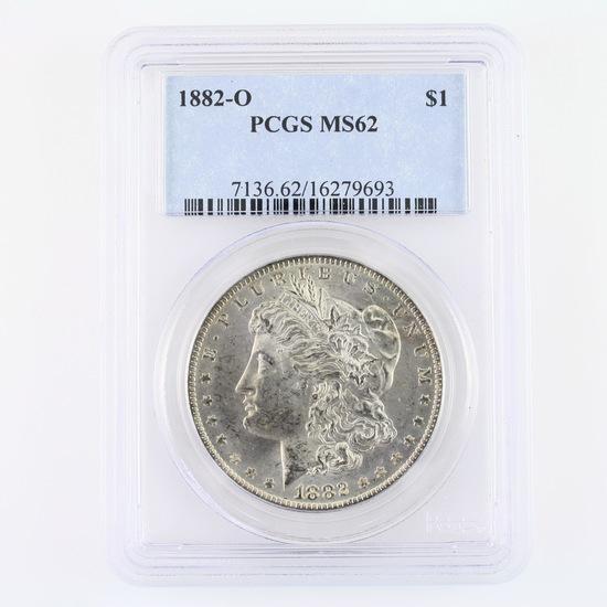 Certified 1882-O U.S. Morgan silver dollar