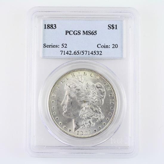 Certified 1883 U.S. Morgan silver dollar