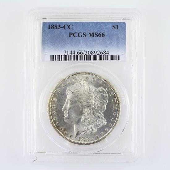 Certified 1883-CC U.S. Morgan silver dollar