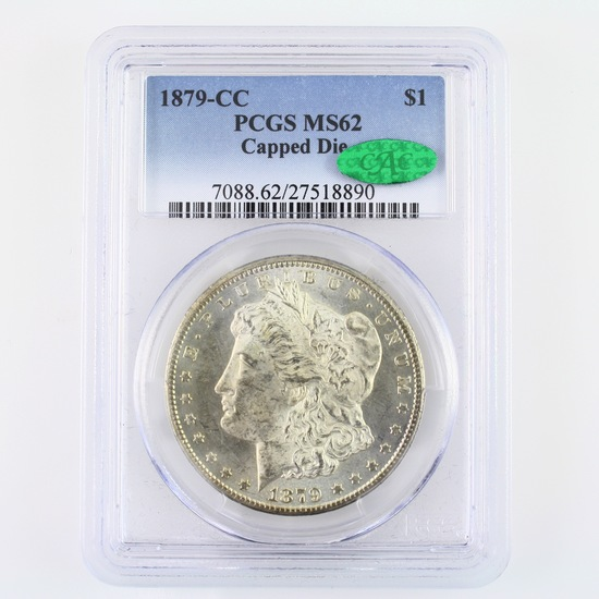 Certified 1879-CC capped die U.S. Morgan silver dollar