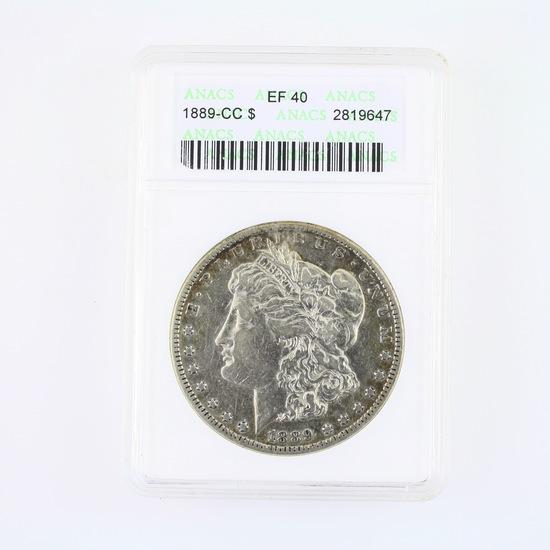 Certified 1889-CC U.S. Morgan silver dollar