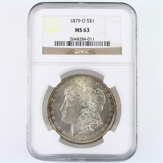 Certified 1879-O U.S. Morgan silver dollar