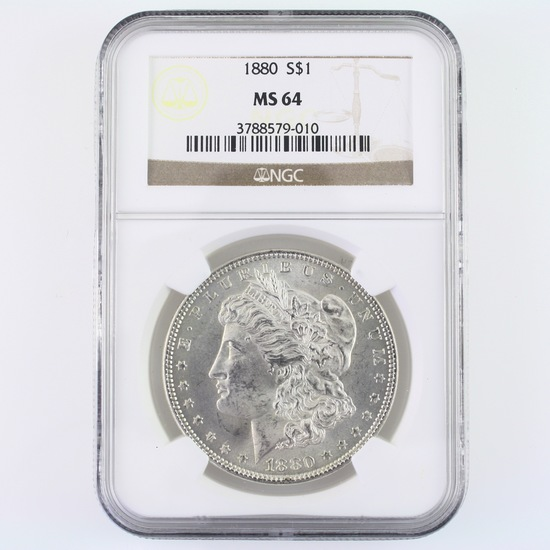 Certified 1880 U.S. Morgan silver dollar