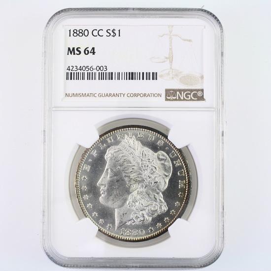 Certified 1880-CC U.S. Morgan silver dollar