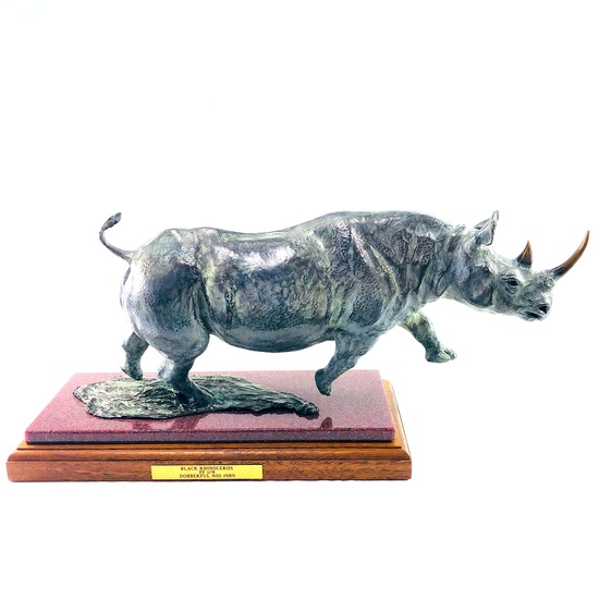 "Signed 1989 Donna Dobberfuhl colorized solid bronze ""Black Rhinoceros"" figurine"
