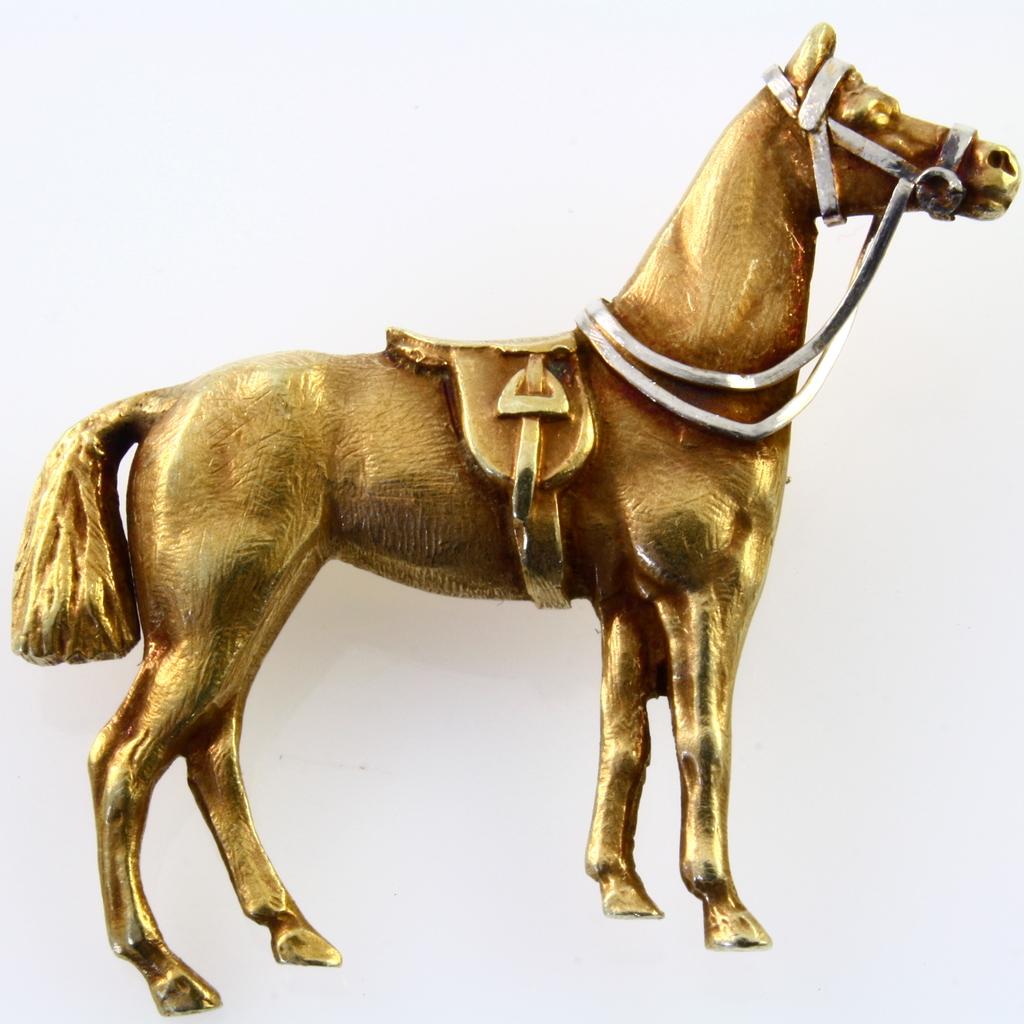 Vintage 14K yellow gold horse pin