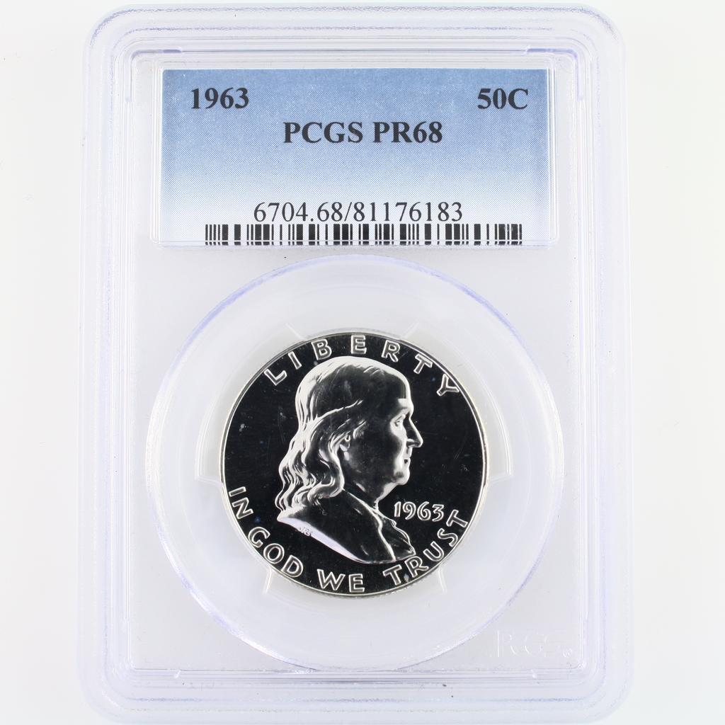 Certified 1963 U.S. proof Franklin half dollar
