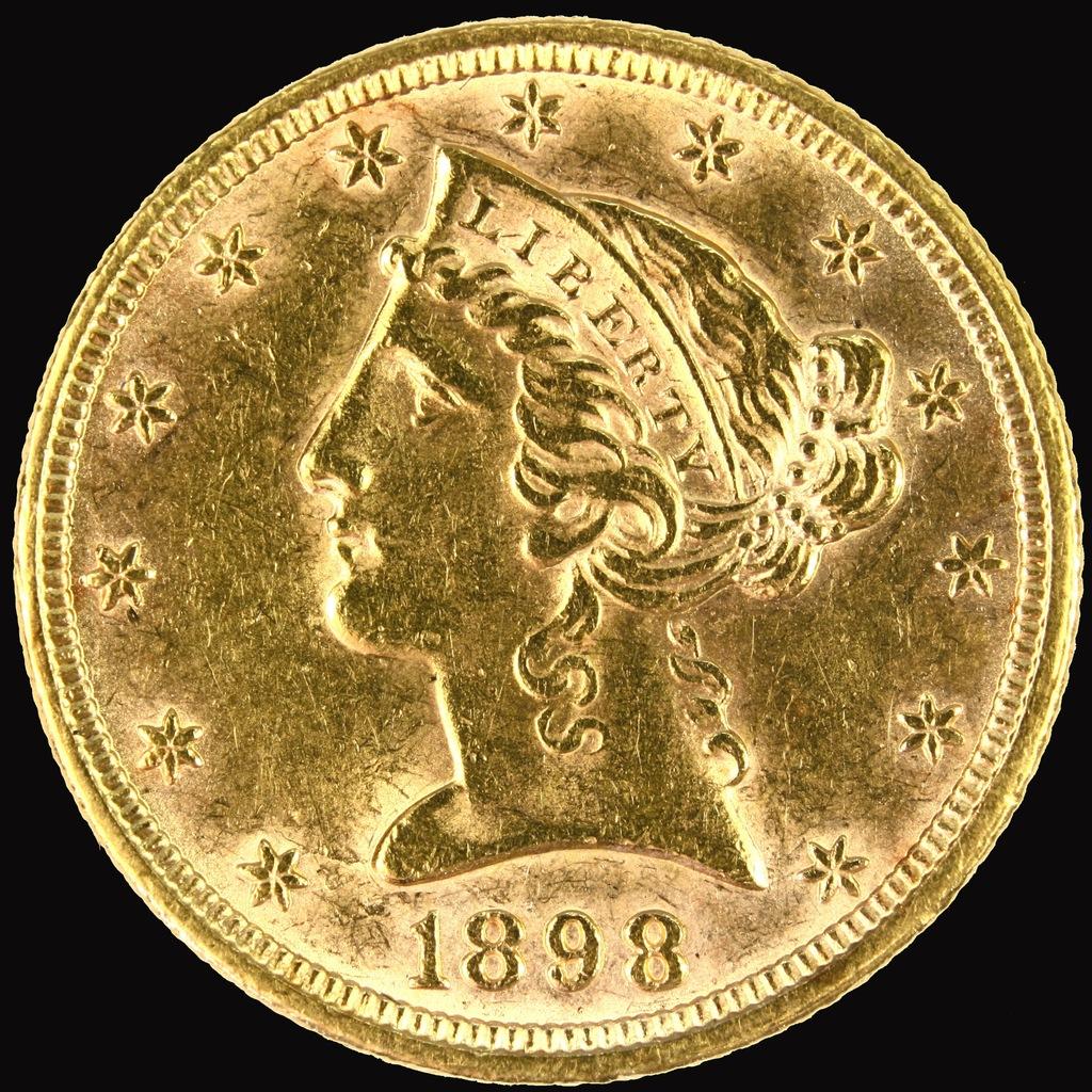 1898 U.S. $5 Liberty head gold coin