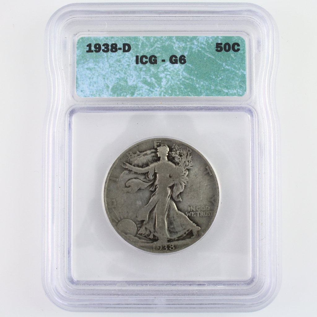 Certified 1938-D U.S. walking Liberty half dollar