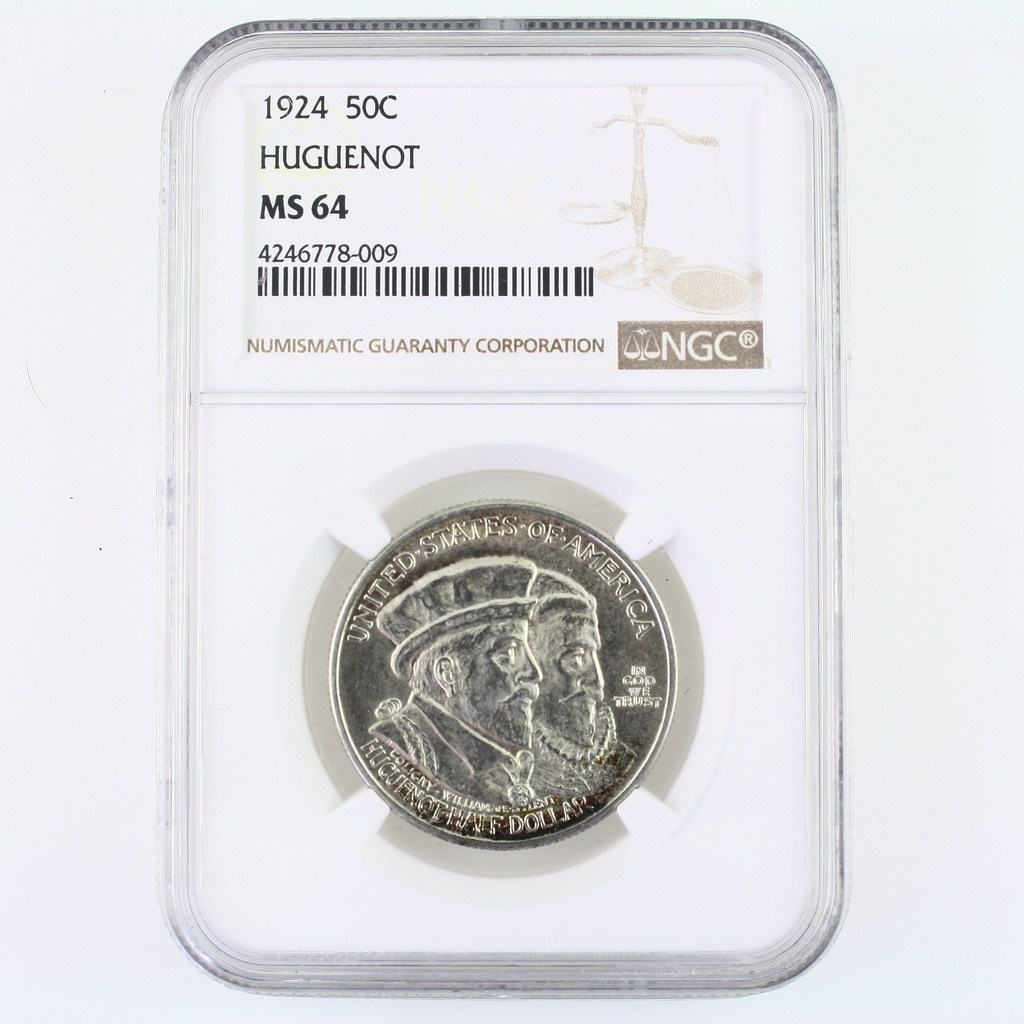 Certified 1924 U.S. Huguenot commemorative half dollar