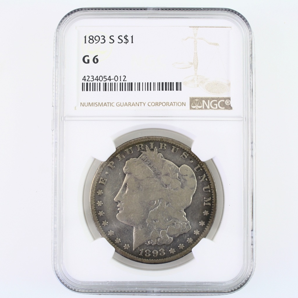 Certified 1893-S U.S. Morgan silver dollar