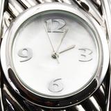Estate white metal lady's cuff bracelet wristwatch