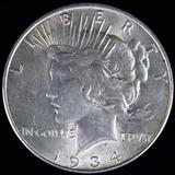 1934-D U.S. peace silver dollar