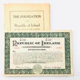 1920 Republic of Ireland $10 gold bond certificate &