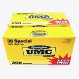 Lot of 750 rounds of boxed Remington UMC .38 Spl 130 grain metal case ammo