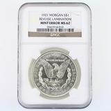 Certified 1921 error U.S. Morgan silver dollar