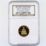 Certified 1989-W U.S. Congress commemorative $5 gold coin