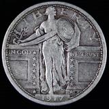 1917 type 1 U.S. standing Liberty quarter