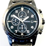 Like-new Fossil Dean smoke-tone stainless steel chronograph wristwatch