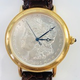 Estate Stauer Guitar gold-tone stainless steel automatic wristwatch