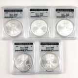 Lot of 5 different certified U.S. American Eagle silver dollars