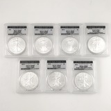Continuous run of 7 different certified U.S. American Eagle silver dollars