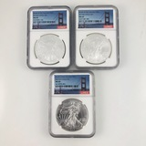Lot of 3 different certified U.S. S-mint American Eagle silver dollars
