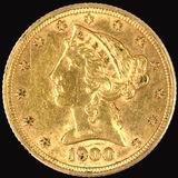 1900 U.S. $5 Liberty head gold coin