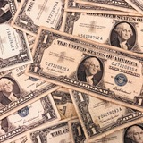 Lot of 35 average circulated 1957 U.S. silver certificate banknotes