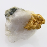 Genuine crystalline gold specimen on quartz