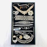 Lot of 17 pieces of estate white & colored rhinestone fashion jewelry